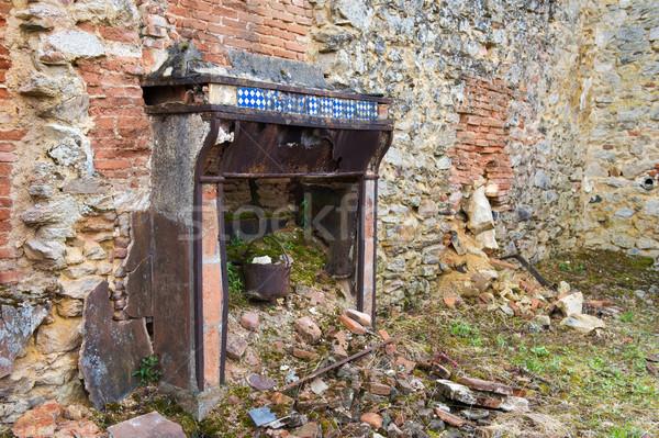 Gebroken huis interieur vernietigd frans wereld Stockfoto © ivonnewierink