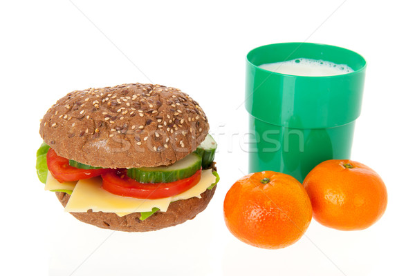 healthy brown bread roll with fruit and milk Stock photo © ivonnewierink