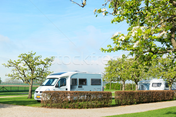 Campground with camper and caravan  Stock photo © ivonnewierink