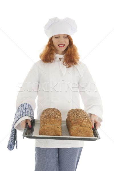 Vrouwelijke bakker chef brood gebakken Stockfoto © ivonnewierink
