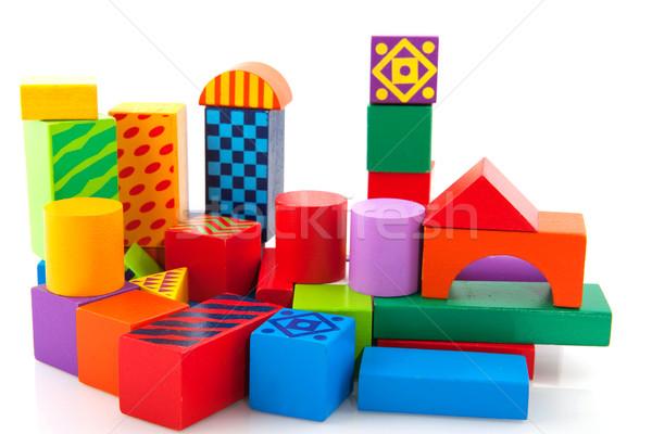 Houten speelgoed blokken bouwen huis achtergrond Stockfoto © ivonnewierink
