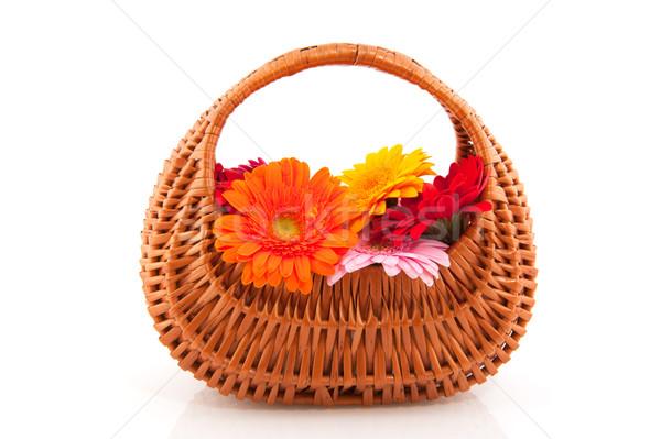 Cute wicker basket flowers Stock photo © ivonnewierink