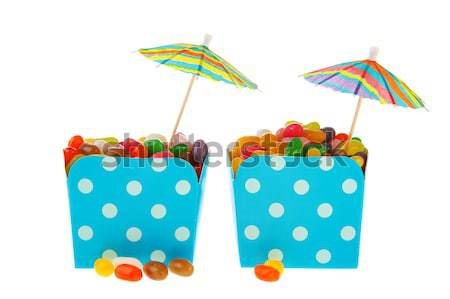 Cartons colorful candy with parasols Stock photo © ivonnewierink