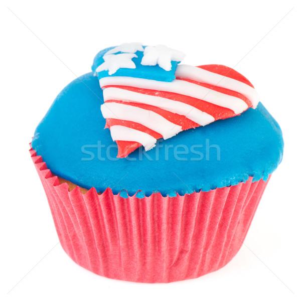 Amerikaanse Rood Blauw vlag witte Stockfoto © ivonnewierink