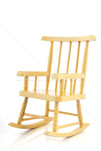 Amarelo cadeira de balanço isolado branco fundo Foto stock © ivonnewierink