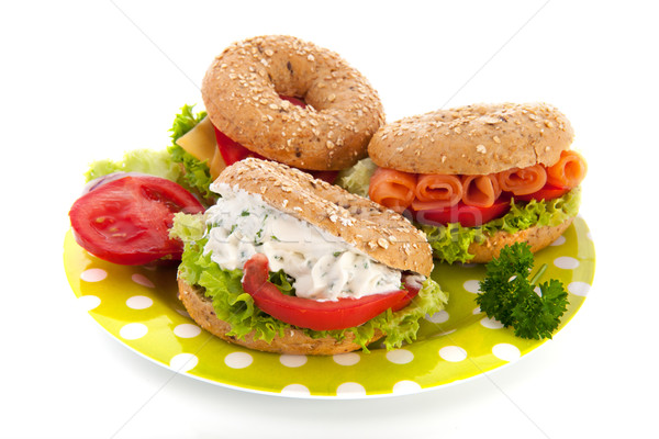 Fresh bagels with cheese and fish Stock photo © ivonnewierink
