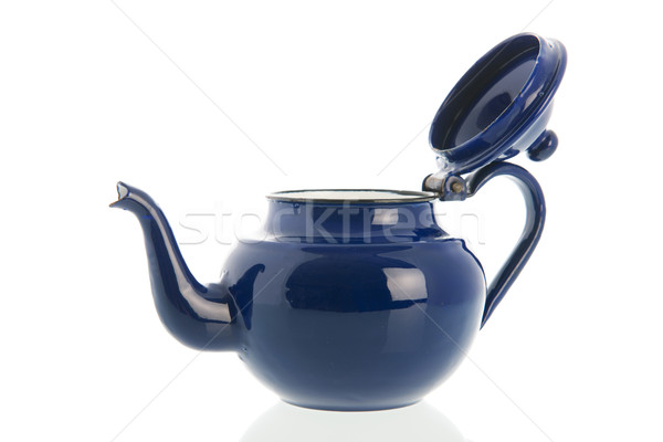 Kék fogzománc tea edény nyitva izolált Stock fotó © ivonnewierink