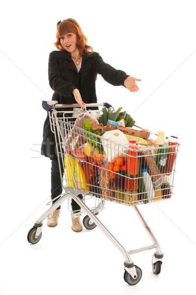 Kadın alışveriş sepeti tok mandıra bakkal ürünleri Stok fotoğraf © ivonnewierink