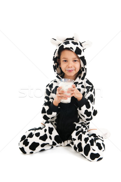 Little boy as cow drinking milk Stock photo © ivonnewierink