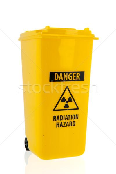 мусорное ведро радиоактивный мусора желтый изолированный белый Сток-фото © ivonnewierink