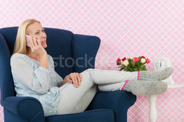 Woman on the phone Stock photo © ivonnewierink