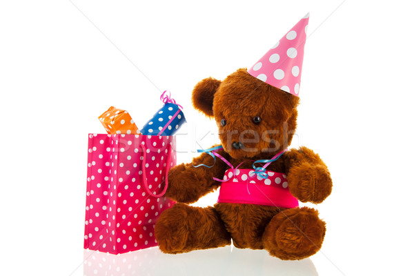 Funny stuffed bear with gifts Stock photo © ivonnewierink