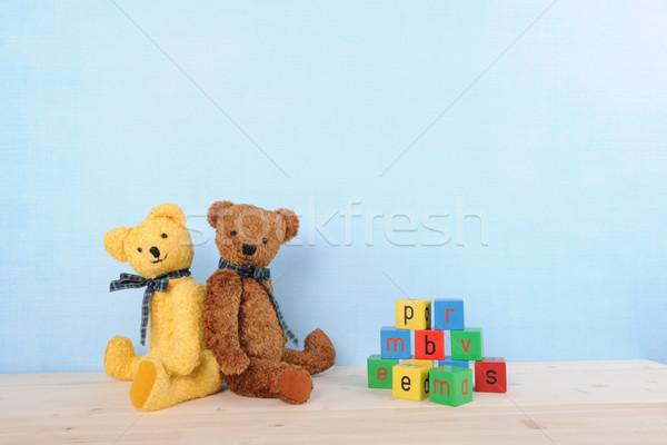 Ripieno orsi blu due retro interni Foto d'archivio © ivonnewierink