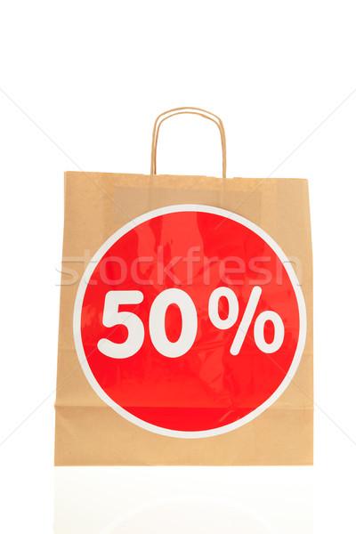 Stok fotoğraf: Kâğıt · alışveriş · çantası · indirim · ambalaj · kâğıdı · 50 · yalıtılmış