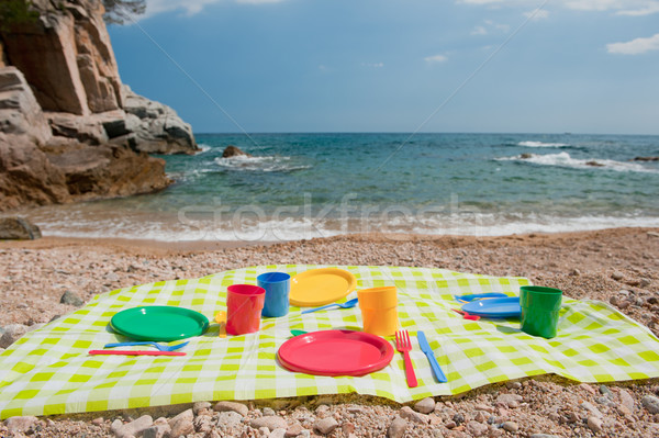 Piknik tengerpart színes műanyag víz nyár Stock fotó © ivonnewierink