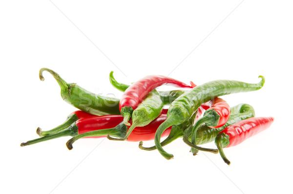 Piros forró chilipaprika friss fakanál étel Stock fotó © ivonnewierink