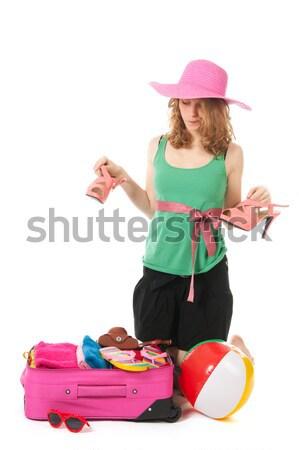 Mala mulher jovem rosa férias de verão jovem Foto stock © ivonnewierink