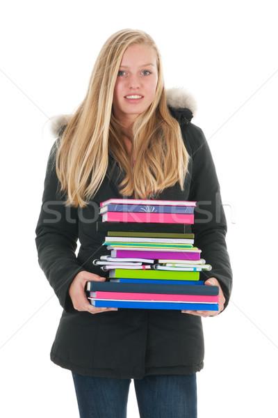 Uczennica książek odizolowany biały dziecko farbują Zdjęcia stock © ivonnewierink