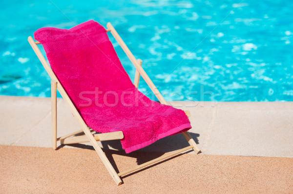 şezlong yüzme havuzu havlu plaj spor mavi Stok fotoğraf © ivonnewierink