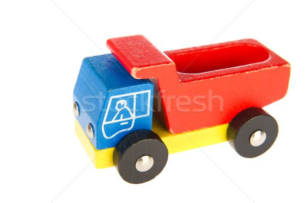 Oude houten speelgoed vrachtwagen gebruikt geïsoleerd witte Stockfoto © ivonnewierink