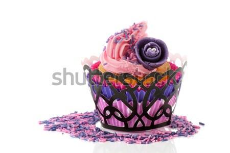Stockfoto: Roze · voedsel · witte