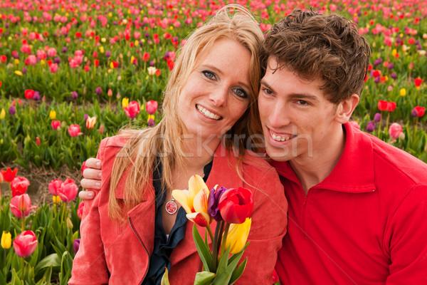 Jóvenes amor Pareja holandés flor campos Foto stock © ivonnewierink