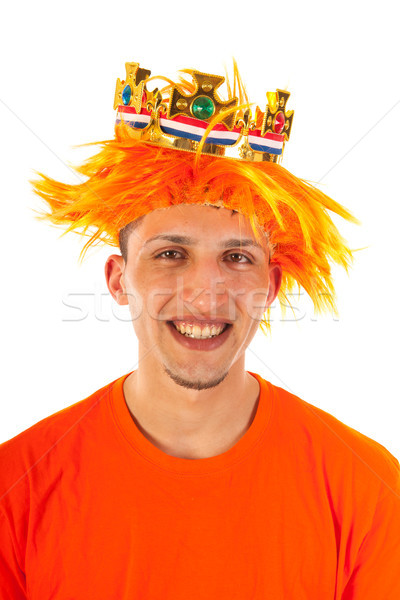 Portrait of man with kings day in Holland Stock photo © ivonnewierink
