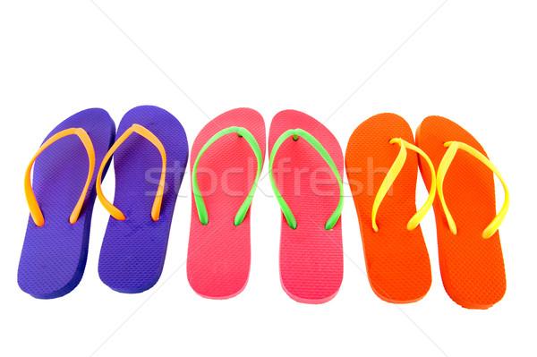 Színes papucs csetepaté izolált fehér nyár Stock fotó © ivonnewierink