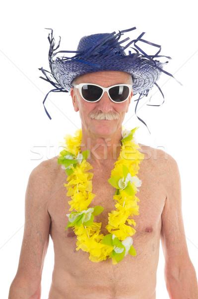Nyugdíjas férfi tengerpart portré izolált fehér Stock fotó © ivonnewierink