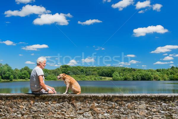 старший человека старые собака природы пейзаж Сток-фото © ivonnewierink