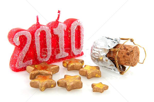 Gelukkig nieuwjaar 2010 champagne kurk sterren Rood Stockfoto © ivonnewierink