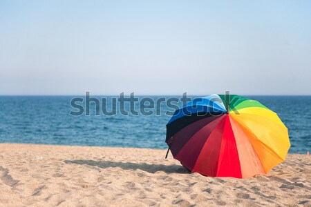 Parasol at the Normandy beach Stock photo © ivonnewierink