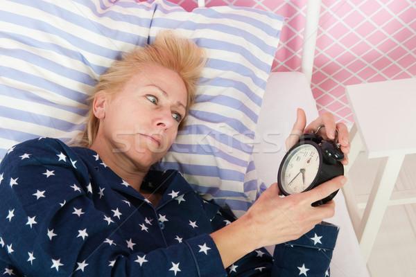 Mujer madura insomnio rubio mujer maduro edad Foto stock © ivonnewierink