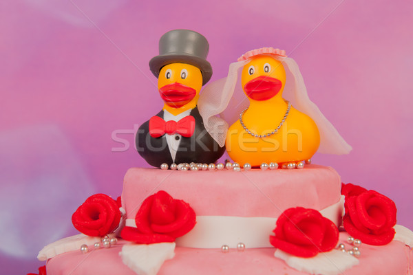 ウェディングケーキ 面白い カップル 女性 花 ケーキ ストックフォト © ivonnewierink