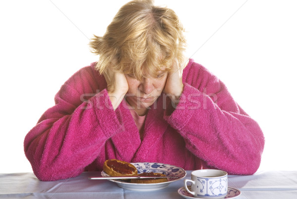 Depressief ochtend koffie tabel brood Stockfoto © ivonnewierink