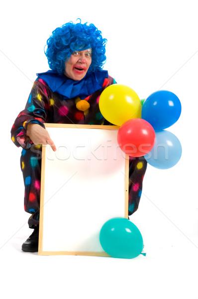 Clown notatka pokładzie pisać włosy niebieski Zdjęcia stock © ivonnewierink