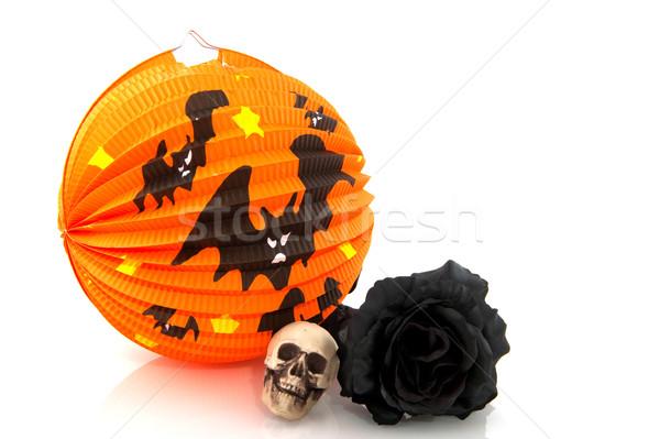 Halloween lantern and black rose Stock photo © ivonnewierink