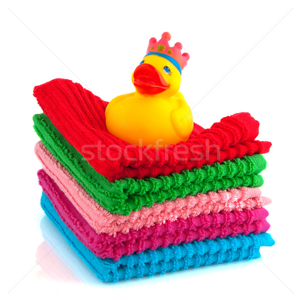 colorful towels with bath duck Stock photo © ivonnewierink
