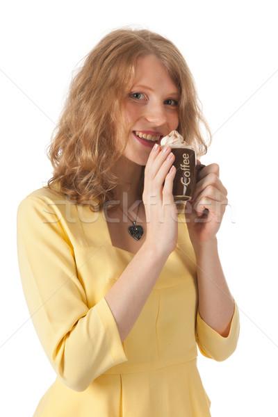 Stockfoto: Aantrekkelijk · blond · vrouw · drinken · koffie · witte