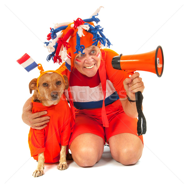 Calcio aderente cane arancione bandiere Foto d'archivio © ivonnewierink