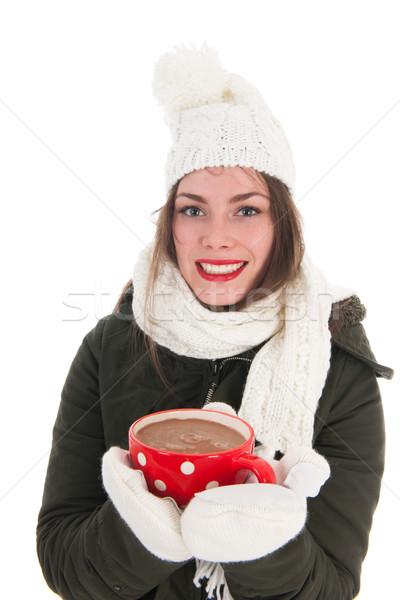 Portré tél lány forró csokoládé kabát ujjatlan kesztyűk Stock fotó © ivonnewierink