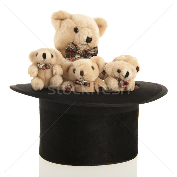 Stuffed bears in black tall hat Stock photo © ivonnewierink