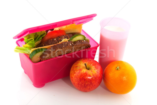 Healthy pink lunch box Stock photo © ivonnewierink
