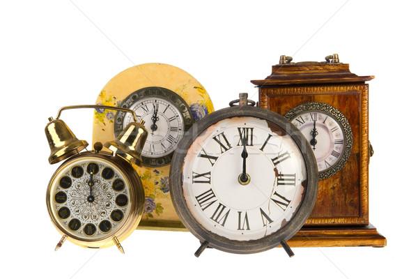 Vintage klokken twaalf alle geïsoleerd witte Stockfoto © ivonnewierink