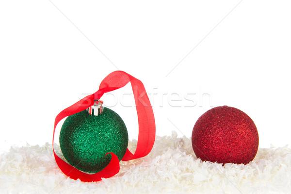 Сток-фото: зеленый · красный · Рождества · снега · белый