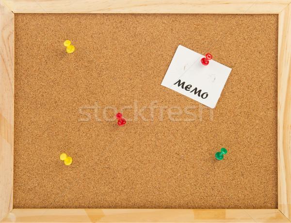 Boş mantar not tahta ahşap çerçeve iş Stok fotoğraf © ivonnewierink