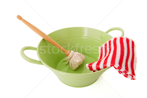 Green bassin for washing dishes Stock photo © ivonnewierink