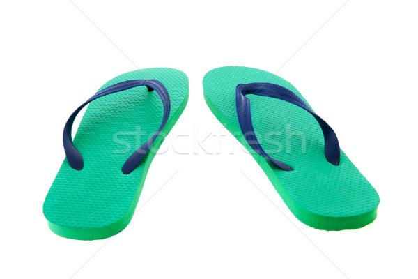 Zöld kék papucs izolált fehér divat Stock fotó © ivonnewierink