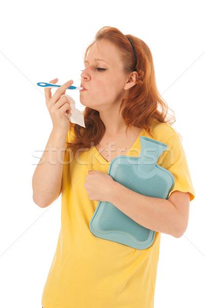 Vermelho mulher termômetro amarelo camisas Foto stock © ivonnewierink