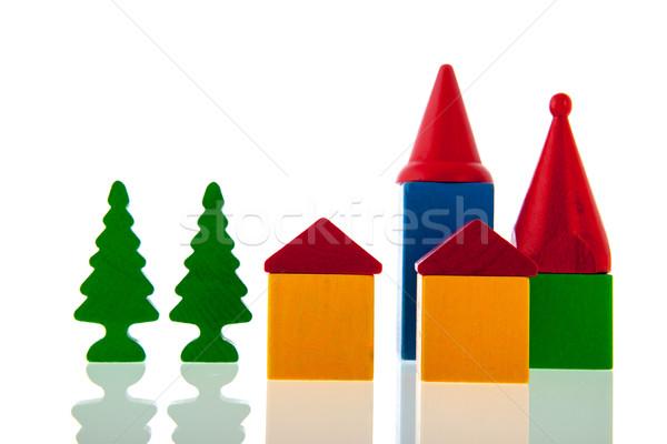 Small village in wooden blocks Stock photo © ivonnewierink